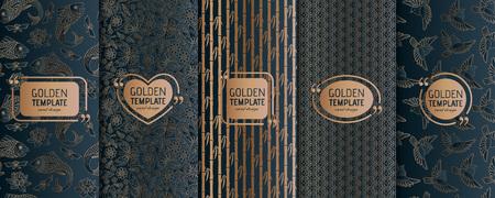 Satz goldener Luxusschablonen. Abstrakter geometrischer Hintergrund. Vektorillustration. Vektorgrafik