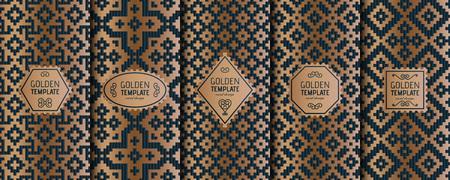 Set di modelli di lusso dorato. Sfondo geometrico astratto. Illustrazione vettoriale. Vettoriali