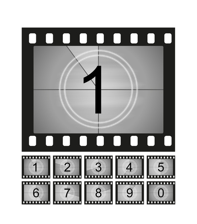 Ensemble d'images de compte à rebours de film. Compte de minuterie de cinéma ancien. Illustration vectorielle. Vecteurs