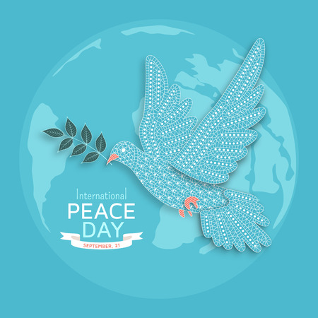International Peace Day background with ornate birds. Vector illustration.
