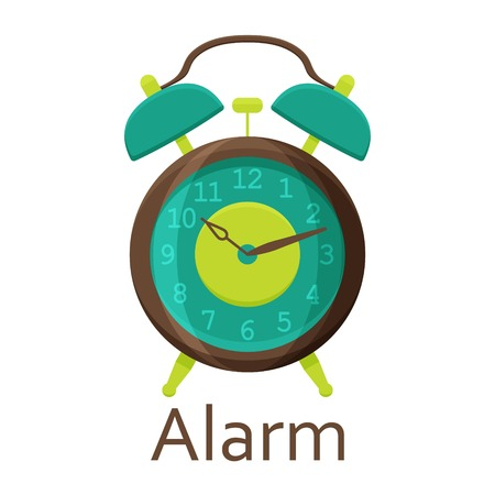 Alarm clock isolated on the white background. Vector illustration.