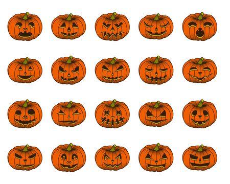 Halloween pumpkin set isolated on white background. Vector illustration.