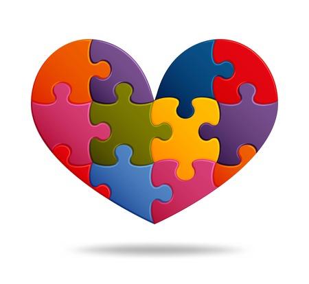 Fond de puzzle avec de nombreuses pièces colorées. Modèle de mosaïque abstraite. Forme de coeur. Illustration vectorielle.
