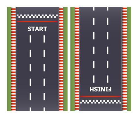 Kart race background. Top view. Line asphalt track road. Finish and start lines. Vector illustration. 向量圖像