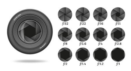 Diafragma pictogrammenset met waarde nummers. Camera sluiter lens diafragma rij. Vector illustratie.