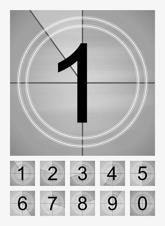 Movie countdown frames set. Old film cinema timer count. Vector illustration.