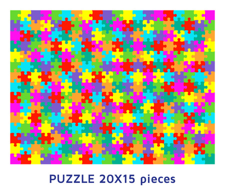 Jigsaw puzzle background with many colorful pieces. Abstract mosaic template. Vector illustration. Ilustração