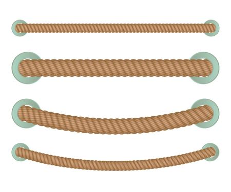 Realistic nautical twisted rope knots. Dividers isolated on the white baclground. Vector illustration.