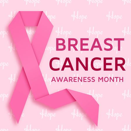 Breast cancer awareness month background with pink ribbon. Vector illustration 写真素材 - 109640480