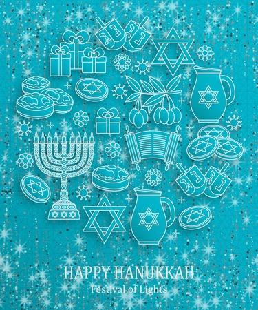 Hanukkah greeting card with Torah, menorah and dreidels. Turquoise template. Vector illustration.