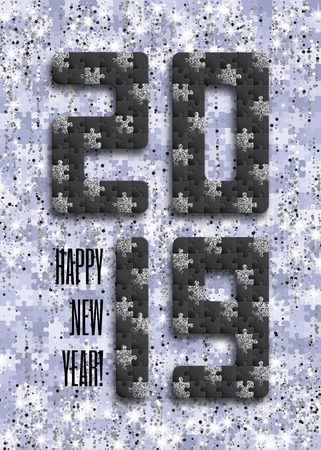 2019 jigsaw puzzle background with many silver glitter and black pieces. Happy New Year card design. Abstract mosaic template. Vector illustration. Imagens - 127720422