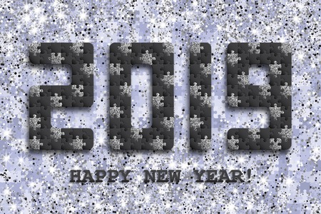 2019 jigsaw puzzle background with many silver glitter and black pieces. Happy New Year card design. Abstract mosaic template. Vector illustration.