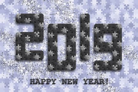 2019 jigsaw puzzle background with many silver glitter and black pieces. Happy New Year card design. Abstract mosaic template. Vector illustration. 스톡 콘텐츠 - 127720424