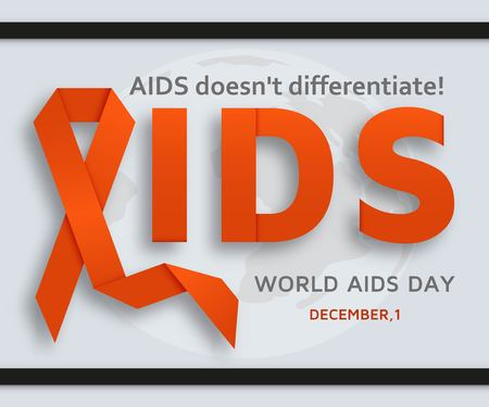 World AIDS day background with red ribbon. Vector illustration Imagens - 127720426