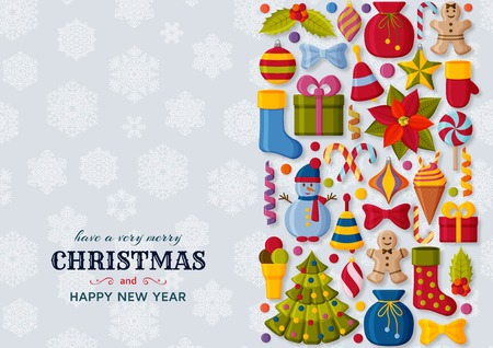 Christmas background with 3d paper cut signs. Cute kids toys and accessories. Snowfall at the back. New Year greeting card or banner concept. Vector illustration. Ilustração