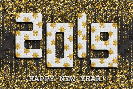 2019 jigsaw puzzle background with many golden glitter and black pieces. Happy New Year card design. Abstract mosaic template. Vector illustration.