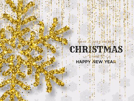 Merry Christmas background with shiny snowflakes gold colored tinsel and streamer. Greeting card and Xmas template. Vector illustration.