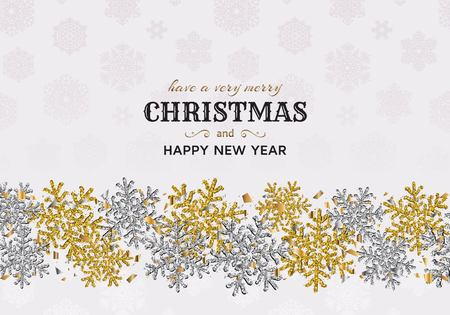 Merry Christmas background with shiny snowflakes, gold colored tinsel and streamer. Greeting card and Xmas template. Vector illustration.