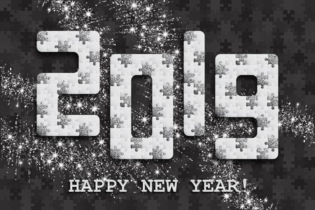 2019 jigsaw puzzle background with many silver glitter and white pieces. Happy New Year card design. Abstract mosaic template. Vector illustration.