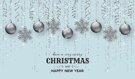 Merry Christmas background with shiny snowflakes, silver balls and grey colored tinsel and streamer. Greeting card and Xmas template. Vector illustration. 일러스트