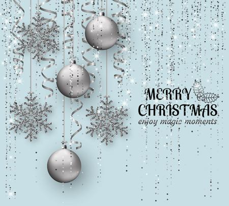 Merry Christmas background with shiny snowflakes, silver balls and grey colored tinsel and streamer. Greeting card and Xmas template. Vector illustration. Vettoriali