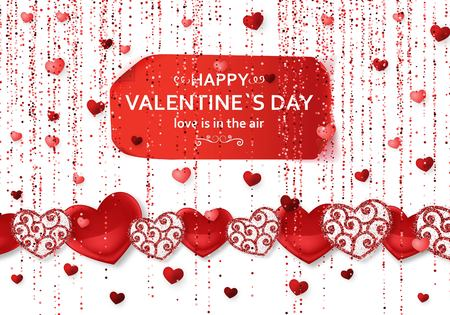 Happy Valentine Day background with shiny and glossy hearts. Red pink glitter and confetti. Greeting card and Love template. Vector illustration.