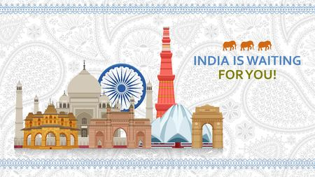 Travel in India concept. Indian most famous sights set. Architectural buildings. Famous tourist attractions. Vector illustration.
