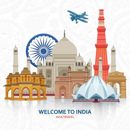 Travel in India concept. Indian most famous sights set. Architectural buildings. Famous tourist attractions. Vector illustration. Vetores