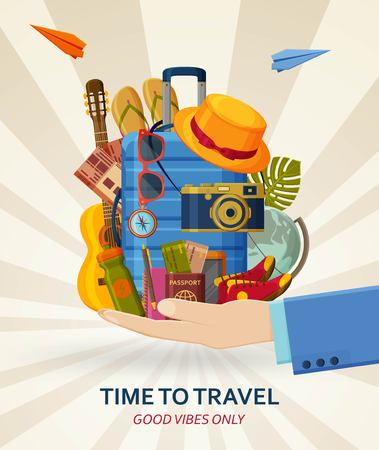 Travel concept with suitcases, sunglasses, hat, camera and flip flops in human hands. Flying paper planes at the back. Good vibes only. Vector illustration. Banque d'images - 121713938