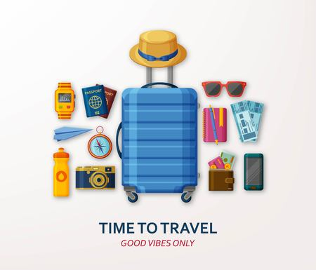 Travel concept with suitcase, sunglasses, hat, camera and compass on white background. Good vibes only. Vector illustration
