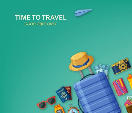 Travel concept with suitcase, sunglasses, hat, camera and tickets on turquoise background. Flying paper plane at the back. Good vibes only. Vector illustration