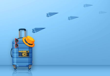 Travel concept with suitcase, sunglasses, hat and camera on blue background. Flying paper planes at the back. Vector illustration Stock Illustratie