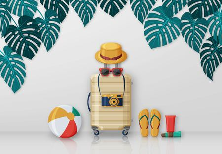 Summer travel concept with suitcase, sunglasses, hat, camera and beach ball on background with monstera leaves. Vector illustration Illustration