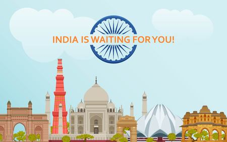Travel in India concept. Indian most famous sights set. Architectural buildings. Famous tourist attractions. Vector illustration. 写真素材 - 121715939