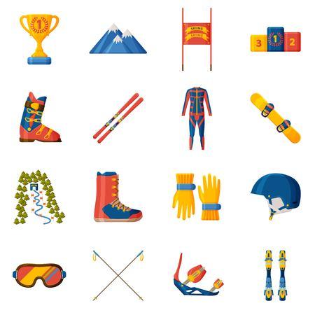 Slalom-Symbolsammlung. Set mit Ausrüstung, Kleidung und Schuhen. Vektor-Illustration.