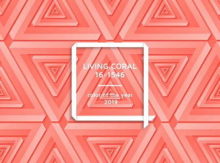 Living coral trendy background with impossible shapes. Template for banners, cards, flyers or brochures. Vector illustration.