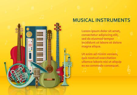 Musical background made of different musical instruments, treble clef and notes. Text place. Colorful vector illustration. Imagens - 124886708