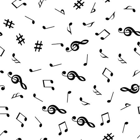 Musical notes and treble clef seamless pattern. Music background