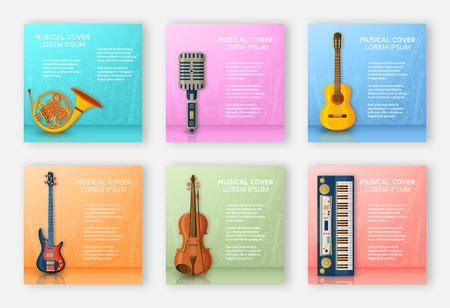 Musical background made of different musical instruments, treble clef and notes. Text place. Colorful vector illustration.