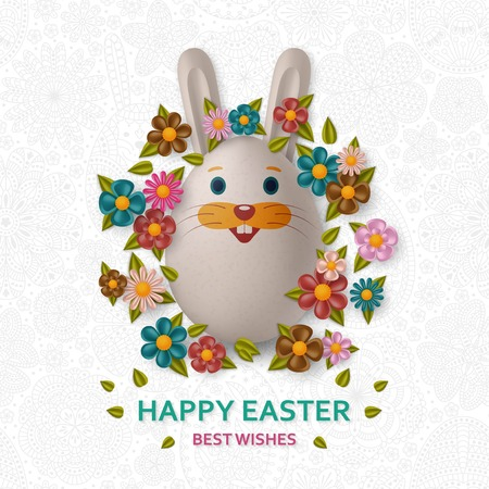 Cute Easter background with white bunny, chicken, eggs and flowers. Colorful vector illustration.