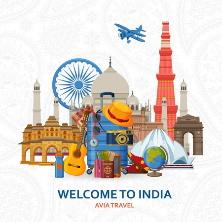 Travel in India concept. Indian most famous sights set. Architectural buildings. Tourist background with suitcases, sunglasses, hat, camera and flip. Flying paper planes at the back Vector illustration.
