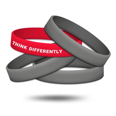Think differently concept. Be different and individuality. Multicolored rubber wristbands. Vector illustration.