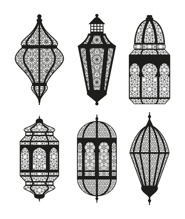 Arabic or Islamic lanterns set. Vector illustration. Stock Illustratie