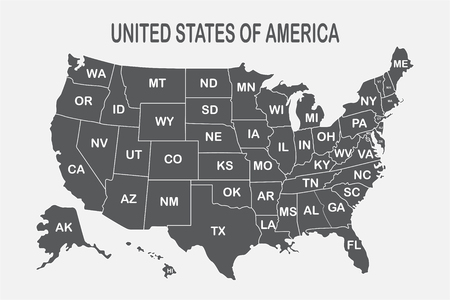 Poster map of United States of America with state names on the white background. Black and white print map of USA for t-shirt, poster or geographic themes. Vector Illustration