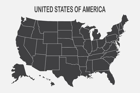 Carte d'affiche des États-Unis d'Amérique avec l'état sur le fond blanc. Imprimez la carte des États-Unis pour un t-shirt, une affiche ou des thèmes géographiques. Illustration vectorielle