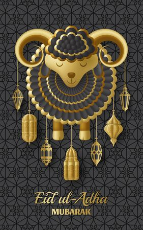 Eid Ul Adha Background. Islamic Arabic lanterns and sheep. Greeting card. Festival of the Sacrifice. Vector illustration.