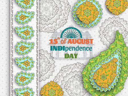 15th of August India Independence Day. Greeting card with arabesque floral pattern. Paisley and Mandala. Vector illustration.