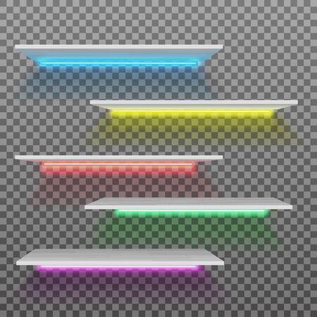 Vector empty white plastic shelf with neon lamps isolated on checkered background Illustration