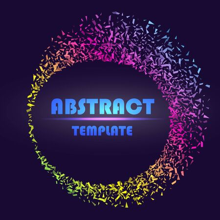 Dynamic abstract scattering particles background made of colored neon specks. Vector illustration. Imagens - 127574815