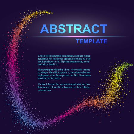 Dynamic abstract scattering particles background made of colored neon specks. Vector illustration. Ilustração